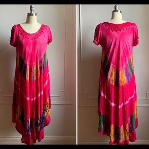 Vintage Hot Pink Embroidered Summer Sun Dress